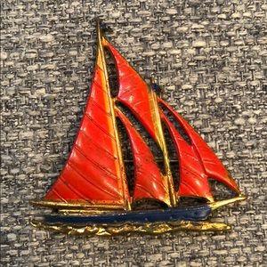 Jewelry - Vintage Enamel & Metal Sailboat Brooch Pin